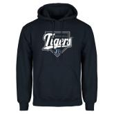 Navy Fleece Hood-Tigers Baseball w/ Script and Plate