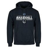 Navy Fleece Hoodie-Jackson State Baseball Stencil w/ Ball