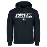 Navy Fleece Hoodie-Jackson State Softball Stencil w/ Underline