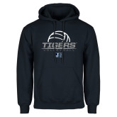 Navy Fleece Hoodie-Tigers Volleyball Stacked w/ Ball