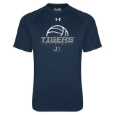 Under Armour Navy Tech Tee-Tigers Volleyball Stacked w/ Ball