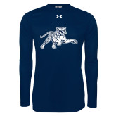Under Armour Navy Long Sleeve Tech Tee-Tiger