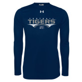 Under Armour Navy Long Sleeve Tech Tee-Tigers Football Stacked w/ Ball