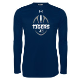 Under Armour Navy Long Sleeve Tech Tee-Jackson State University Tigers Football Vertical
