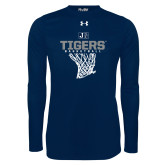 Under Armour Navy Long Sleeve Tech Tee-Tigers Basketball w/ Hanging Net