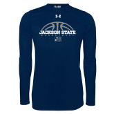 Under Armour Navy Long Sleeve Tech Tee-Jackson State Basketball Half Ball