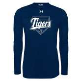 Under Armour Navy Long Sleeve Tech Tee-Tigers Baseball w/ Script and Plate