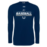 Under Armour Navy Long Sleeve Tech Tee-Jackson State Baseball Stencil w/ Ball