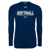 Under Armour Navy Long Sleeve Tech Tee-Jackson State Softball Stencil w/ Underline