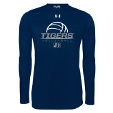 Under Armour Navy Long Sleeve Tech Tee-Tigers Volleyball Stacked w/ Ball