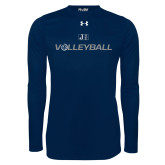 Under Armour Navy Long Sleeve Tech Tee-Volleyball w/ Ball