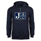 Navy Fleece Full Zip Hood-Official Logo