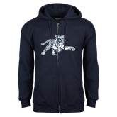 Navy Fleece Full Zip Hoodie-Tiger