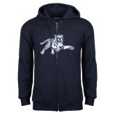 Navy Fleece Full Zip Hood-Tiger
