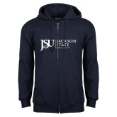 Navy Fleece Full Zip Hoodie-JSU Jackson State University