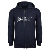 Navy Fleece Full Zip Hood-JSU Jackson State University