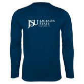 Performance Navy Longsleeve Shirt-JSU Jackson State University