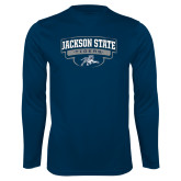 Performance Navy Longsleeve Shirt-Jackson State Tigers Arched w/ Outline