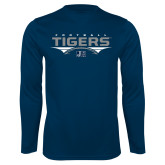 Performance Navy Longsleeve Shirt-Tigers Football Stacked w/ Ball