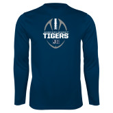 Performance Navy Longsleeve Shirt-Jackson State University Tigers Football Vertical