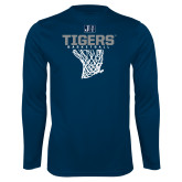 Performance Navy Longsleeve Shirt-Tigers Basketball w/ Hanging Net