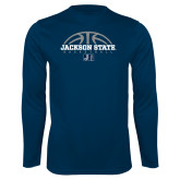 Performance Navy Longsleeve Shirt-Jackson State Basketball Half Ball