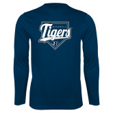 Performance Navy Longsleeve Shirt-Tigers Baseball w/ Script and Plate