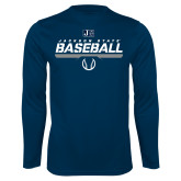 Performance Navy Longsleeve Shirt-Jackson State Baseball Stencil w/ Ball