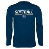 Performance Navy Longsleeve Shirt-Jackson State Softball Stencil w/ Underline