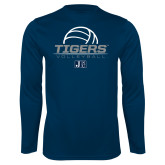 Performance Navy Longsleeve Shirt-Tigers Volleyball Stacked w/ Ball