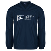 V Neck Navy Raglan Windshirt-JSU Jackson State University