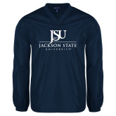 V Neck Navy Raglan Windshirt-JSU Jackson State University Stacked