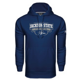 Under Armour Navy Performance Sweats Team Hoodie-Jackson State Tigers Arched w/ Outline