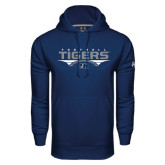 Under Armour Navy Performance Sweats Team Hoodie-Tigers Football Stacked w/ Ball