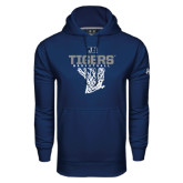 Under Armour Navy Performance Sweats Team Hoodie-Tigers Basketball w/ Hanging Net