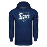 Under Armour Navy Performance Sweats Team Hoodie-Tigers Baseball w/ Script and Plate