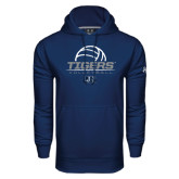 Under Armour Navy Performance Sweats Team Hoodie-Tigers Volleyball Stacked w/ Ball