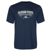 Performance Navy Tee-Jackson State Tigers Arched w/ Outline