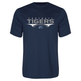 Performance Navy Tee-Tigers Football Stacked w/ Ball