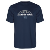 Performance Navy Tee-Jackson State Basketball Half Ball