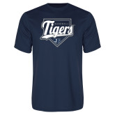 Performance Navy Tee-Tigers Baseball w/ Script and Plate