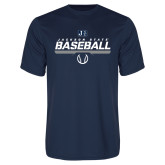 Performance Navy Tee-Jackson State Baseball Stencil w/ Ball