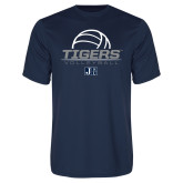 Performance Navy Tee-Tigers Volleyball Stacked w/ Ball