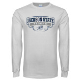 White Long Sleeve T Shirt-Jackson State Tigers Arched w/ Outline