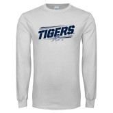 White Long Sleeve T Shirt-Tigers Slanted w/Tiger