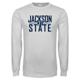 White Long Sleeve T Shirt-Jackson State Stacked w/ Logo