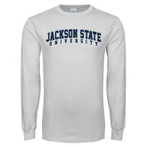 White Long Sleeve T Shirt-Arched Jackson State University