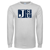 White Long Sleeve T Shirt-Official Logo Distressed