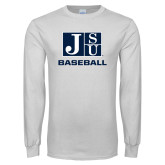 White Long Sleeve T Shirt-Baseball