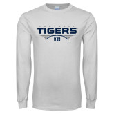 White Long Sleeve T Shirt-Tigers Football Stacked w/ Ball